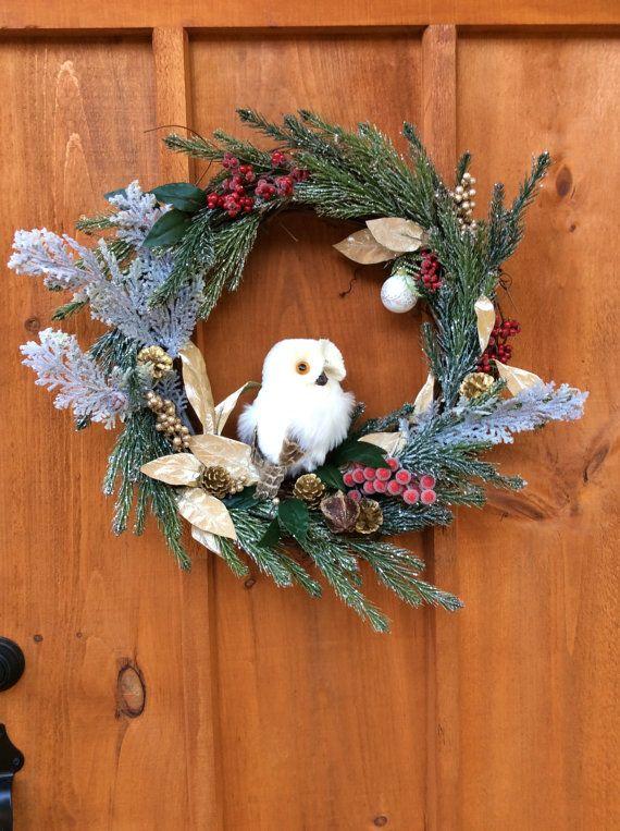 Snowy Owl Winter Wreath, Wildlife, Christmas Grapevine Wreath, Winter,  Front Door, Wall Decor, Artificial Silk, Made in Canada