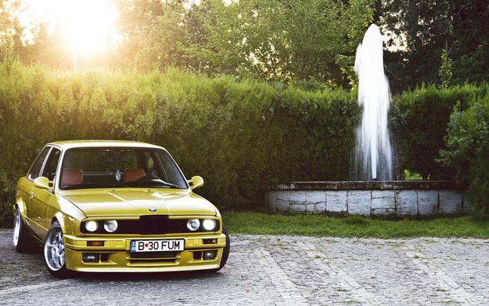 Télécharger fonds d'écran low rider, BMW M3 E30, tuning, BMW Série 3, jaune m3, position, BMW