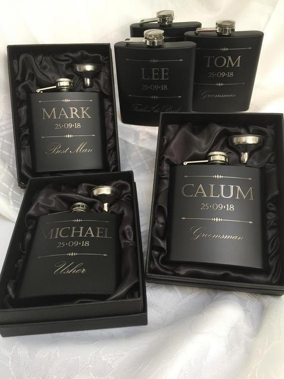 Personalised Hip Flask Wedding Favors Usher Gift Groom Groomsman Best Man Father
