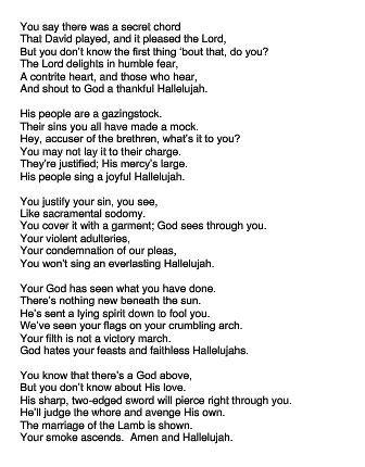 726 best Leonard Cohen images on Pinterest | Leonard cohen ... Hallelujah Lyrics