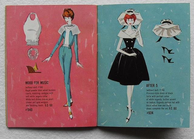 Barbie and Ken 1961 Mattel Vintage Fashion Illustration Catalogs 1960s
