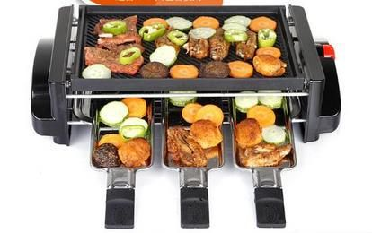 Large BBQ grill electric oven meat machine boiler barbecue machine household commercial electric hotplate