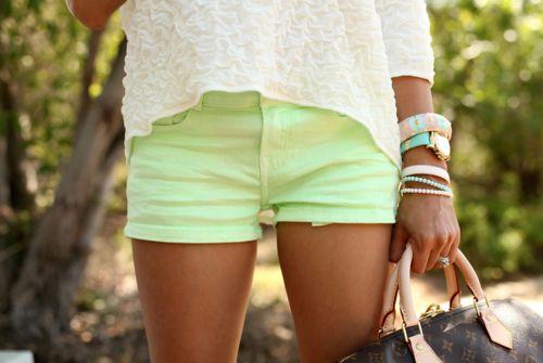 : Neon Shorts, Mint Green, Mint Shorts, Color Shorts, Neon Green, Styles, Limes, Summer Shorts, Green Shorts