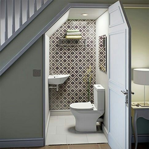 Inspirational idea for a cloakroom tucked under a stair.  Geometric wallpaper makes the room pop - it may be the smallest room in the house, but that doesn't mean it has to be bland!