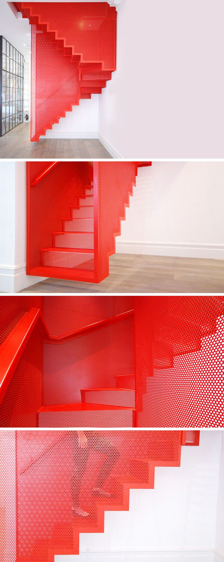 Perforated Steel Suspended Staircase by Michaelis Boyd Associates, interesting comparison to installation by Do Ho Suh at the Tate Modern Gallery