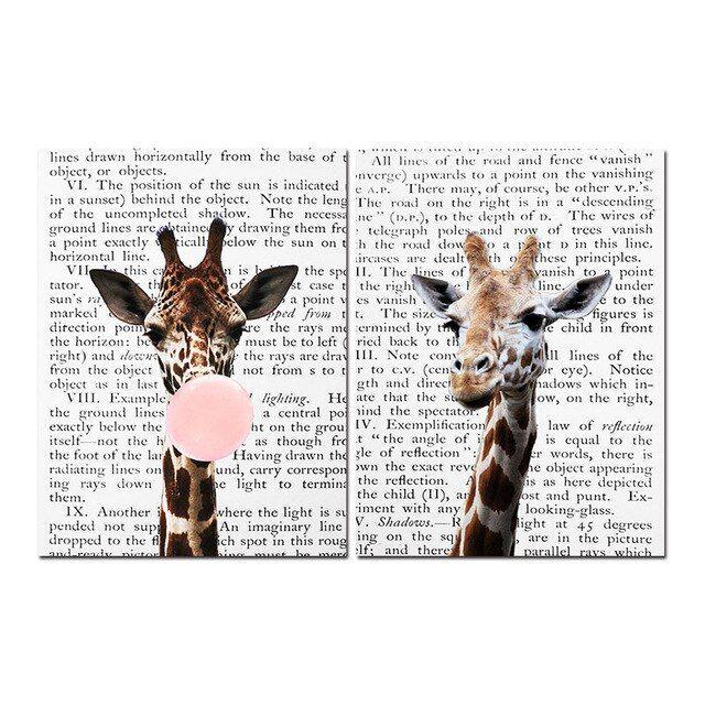 Giraffe Kaugummi Poster Drucke Kindergarten Wand Kunst Erröten Rosa Leinwand Ku…