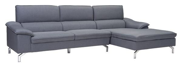 Ephemeral Right Hand Facing Sectional Sofa in Gray Poly Linen