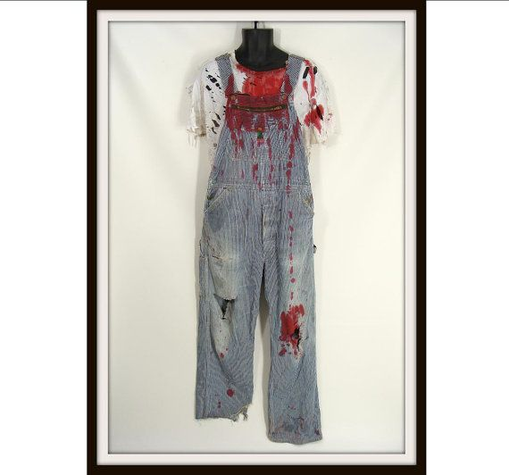 Bloody zombie farmer vintage overalls white t shirt for Selling shirts on etsy