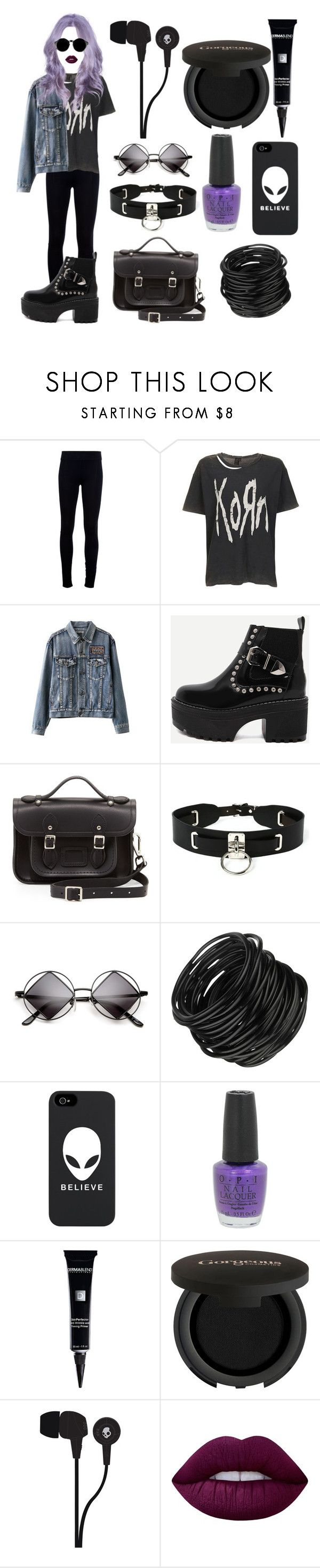 """Song to Say Goodbye ✖️"" by violenceinsilence ❤ liked on Polyvore featuring Helmut Lang, Topshop, WithChic, The Cambridge Satchel Company, Zana Bayne, OPI, Dermablend, Gorgeous Cosmetics, Skullcandy and Lime Crime"