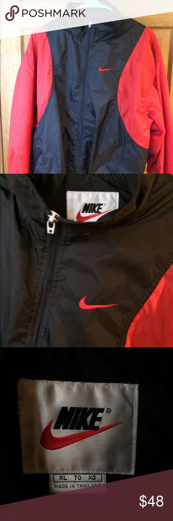Nike Red/Black Windbreaker Red/Black Nike Windbreaker.  Size: XL (fits more like a M-L; snug fit)  No damage, stains, rips etc... Perfect condition! Nike Jackets & Coats Windbreakers