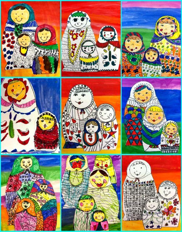 matyroshka collage Les poupées sont dessinées avec des patrons