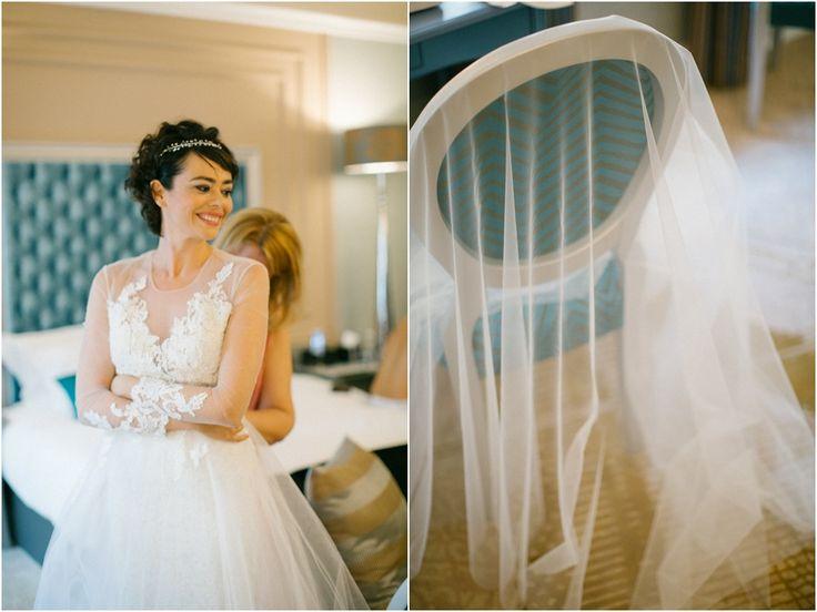 Bride getting ready for wedding #weddingveil #veil #wedding #bridalmirage #norasarman