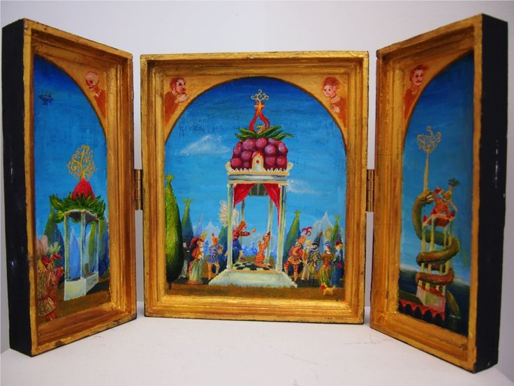 An altarpiece depicting the conversion of the first Earl Pamposiani of Nowhere upon the Plain of Hucklesbury. The Saint Ghpodsby presents Pamposiani with a superior recipe for raspberry cake (the recipe is now recorded in The Most Excellent Book of Gregorism), thus preventing a catastrophic incursion into the Physical Plane of Existence by the Petal-People.