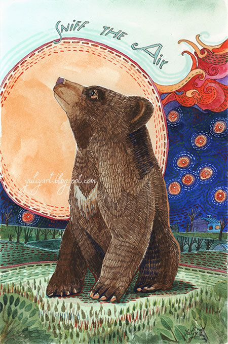Bear Print Animal Illustration Nursery Decor Wall Art Cute