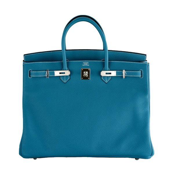 HERMES - CLASSIC HERMES BIRKIN BAG BLUE JEAN 40CM PALLADIUM ❤ liked on Polyvore featuring bags, handbags, hermes, purses, bolsas, blue bag, blue handbags, man bag, blue purse and blue hand bag