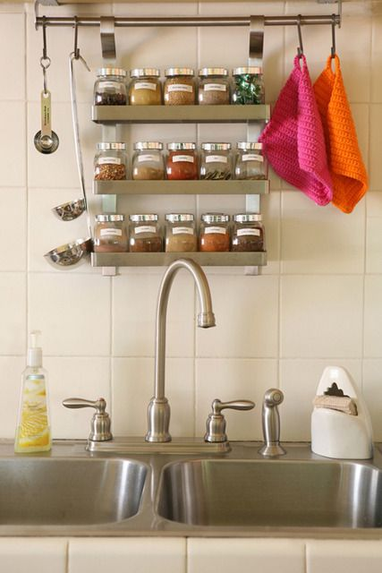 """25 Best Ways to Organize (Spices Storage Solution) and little """"S"""" hooks for measuring cups.. possibly, hang all the utensils too. i'm coming IKEA!"""
