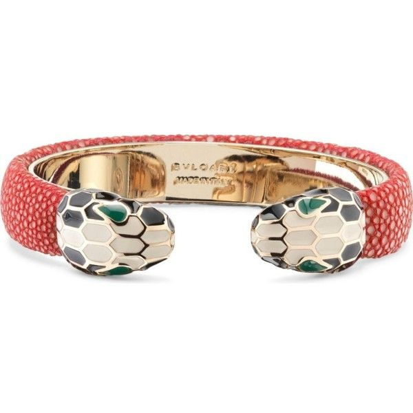 bvlgari serpenti forever 18kt goldplated and leather bracelet 400 liked on