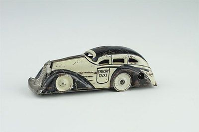 Vintage-Marx-Tricky-Taxi-Tin-Windup-Toy-Table-Top-Car-Litho-0771