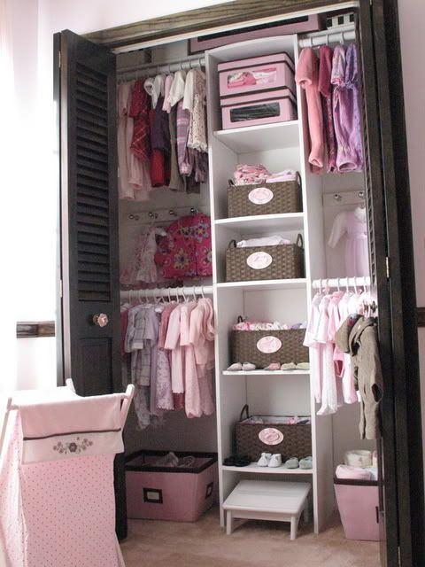 Not that I need ideas for a child's closet :P But the closet in the sewing room is just like this, and this set up gives me a great idea. I love the single column of shelves to store stuff, then hang my fabrics and other clothing to the sides...