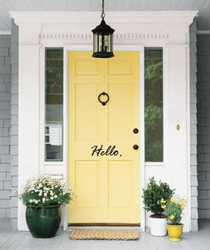 Hello Front Door Decal by PolkaDotDesigned on Etsy, $10.00  @Jamie Wise Olger