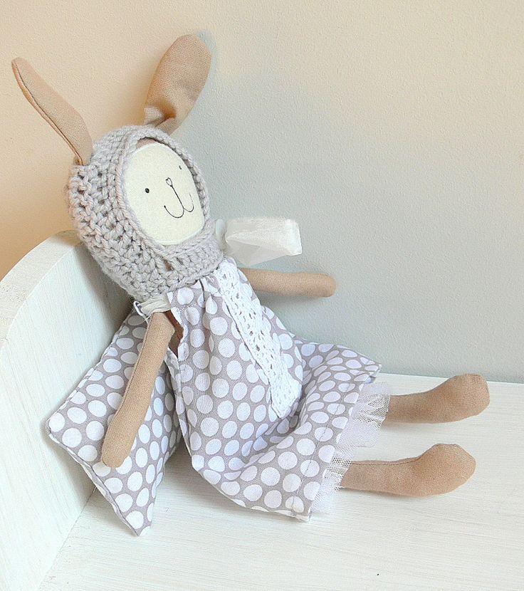 Stuffed Bunny Toy, Heirloom Bunny Doll - by MiniwerkaToys on Etsy