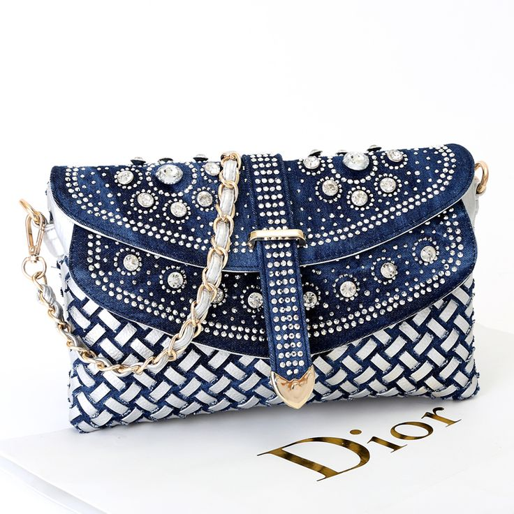2014 new women's small knitted handbags denim rhinestone day clutch bag one shoulder cross body bag chain bags-inClutches from Luggage & Bag...