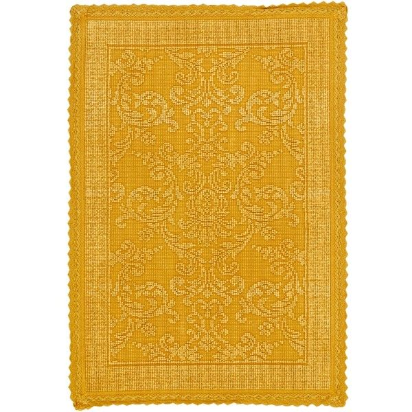 Attractive Yellow Floral Jacquard Bath Mat ($29) ❤ Liked On Polyvore Featuring Home,  Bed