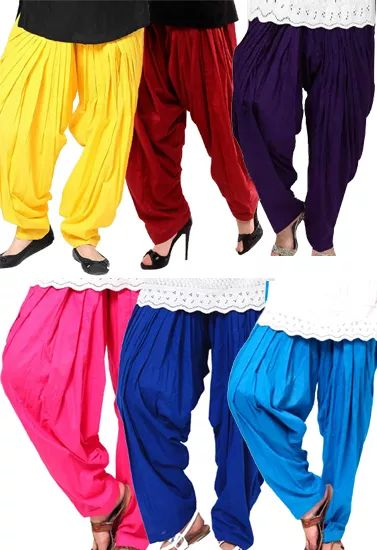 Pack-6 Multi Colors Cotton Full Length Patiala Bottom