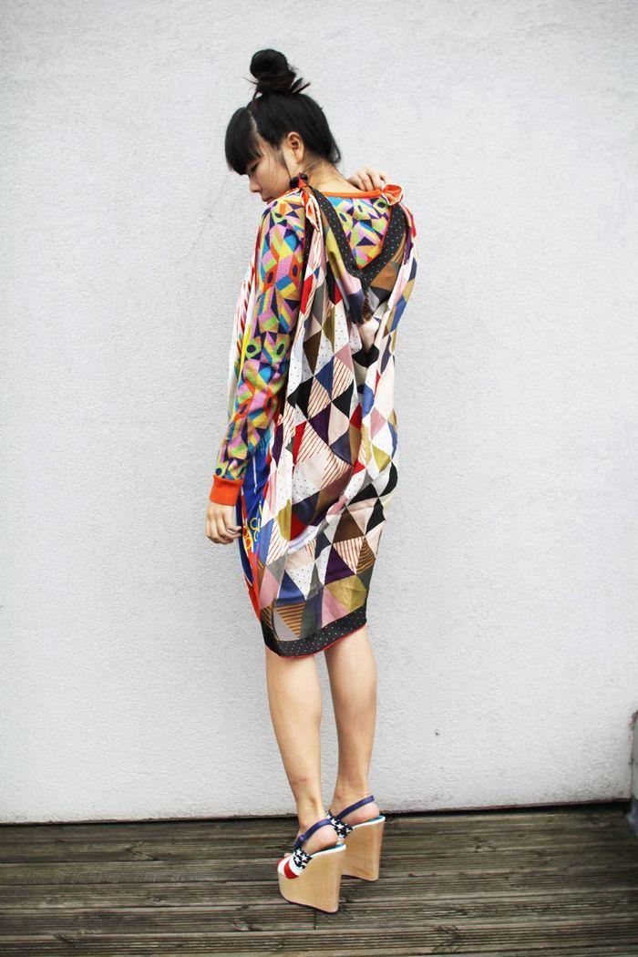 scarf dressGeometric Prints, Style, Clothing, Wedge Sandals, Geometric Fashion, Geometric Design, The Dresses, Geometric Dresses, Scarf Dresses