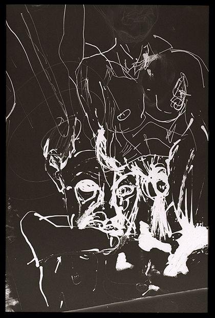 MIKE PARR,Untitled Self Portrait 21, 2013, inkjet print on Spectrum gloss paper,180 × 118.5 cm.CourtesyAnna Schwartz Gallery, Sydney.