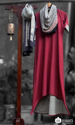asymmetrical dress - marsala khadi & checkers