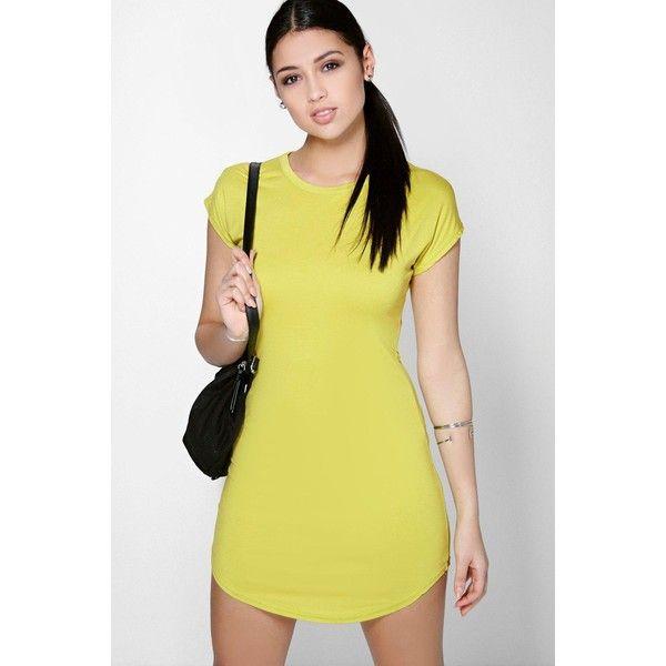 Boohoo Basics Taylor Curved Hem Roll Sleeve TShirt Dress ($20) ❤ liked on Polyvore featuring dresses, lime, lime green t shirt dress, yellow t shirt dress, t shirt dress, lime dress i round neck dress