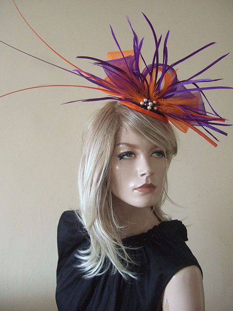 Purple And Tangarine Orange Ostrich Quills Feathers Bright Ascot Fascinator Hat