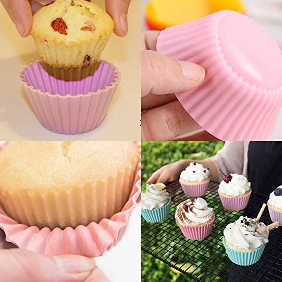 Amazon Com Hehall 40pcs Silicone Muffin Molds Cupcake Baking Cups