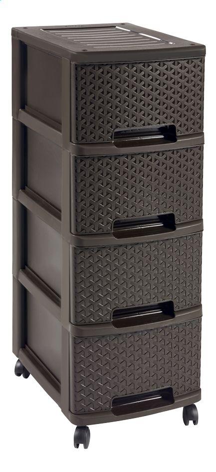 Deze functionele, bruine ladeblok met 4 laden van Curver is niet alleen stevig maar ook designvol dankzij de rotin afwerking.