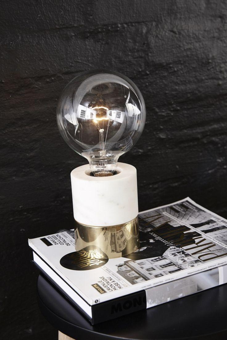 Bordslampa marmor/ koppar, Hubsch