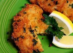 Breaded Parm Pork Chops: ■8 thin cut boneless pork loin chops ■1 cup panko bread crumbs ■1/4 cup grated parmesan cheese ■1/4 cup flour ■2 eggs ■2 tbsp fresh parsley, chopped ■salt & pepper ■1 lemon, cut into wedges ■extra virgin olive oil