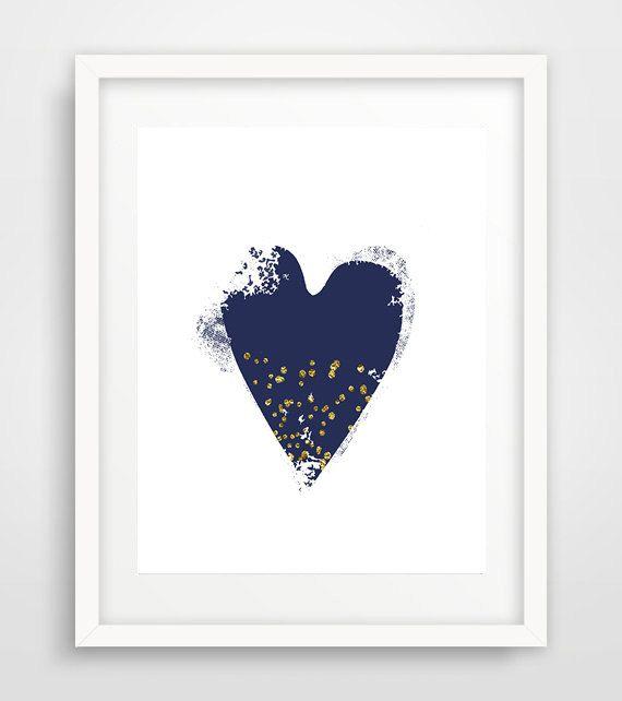 Printable navy heart, navy heart print, navy heart poster, navy heart wall art…