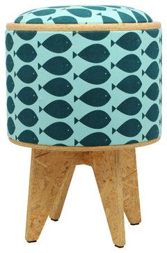 READ INFO OF HOW TO MAKE...Fish Turquoise Stool Ottoman - eclectic - ottomans and cubes - Patron Design