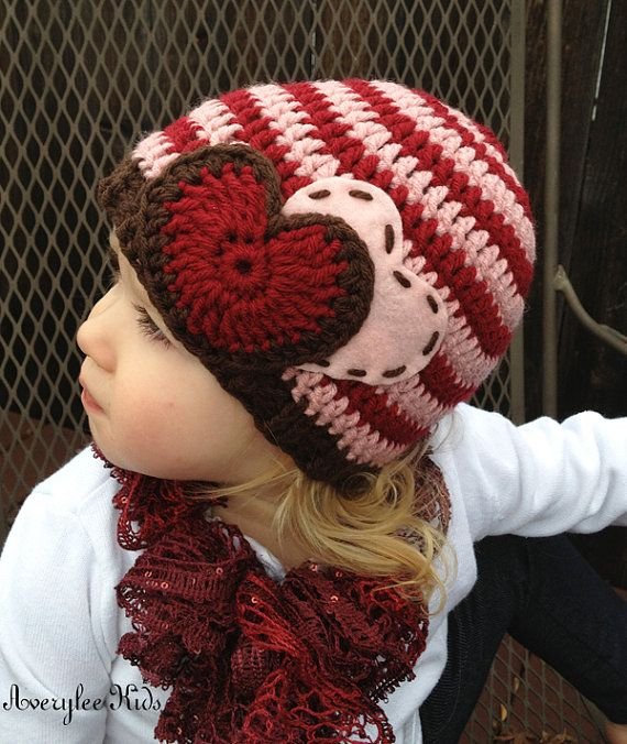 Crochet Valentine Hat : Girls Valentine Hat, Crochet Beanie Hat for Girls, Valentine Heart Hat