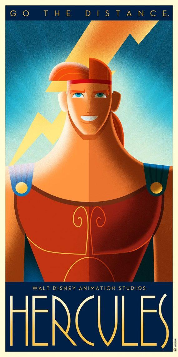 Les affiches Disney Art Déco de David G. Ferrero - Hercule