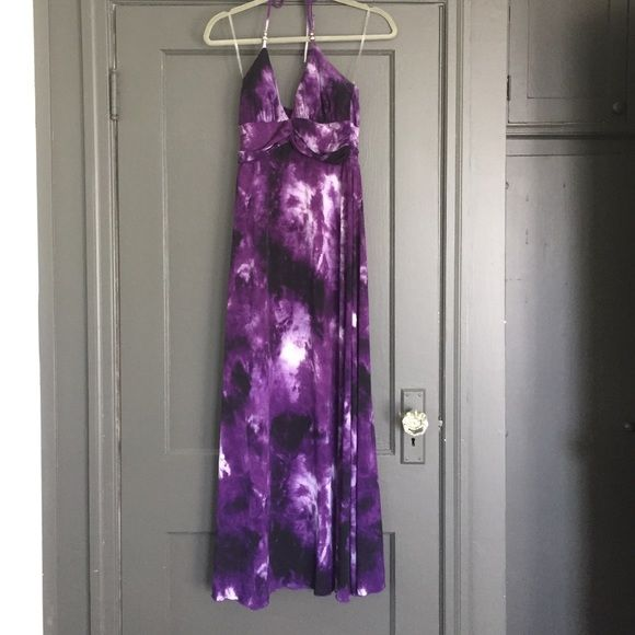 Tye Dye Purple Maxi Dress Medium Lovely, oh-so-summery, and extremely comfy, this medium sized dress is wonderful for beach trips, nights out, and upcoming weddings. There are some broken seams at the bust, but not noticeable while wearing. I'm 5'4ish and this hits the tops of my feet. Dresses Maxi