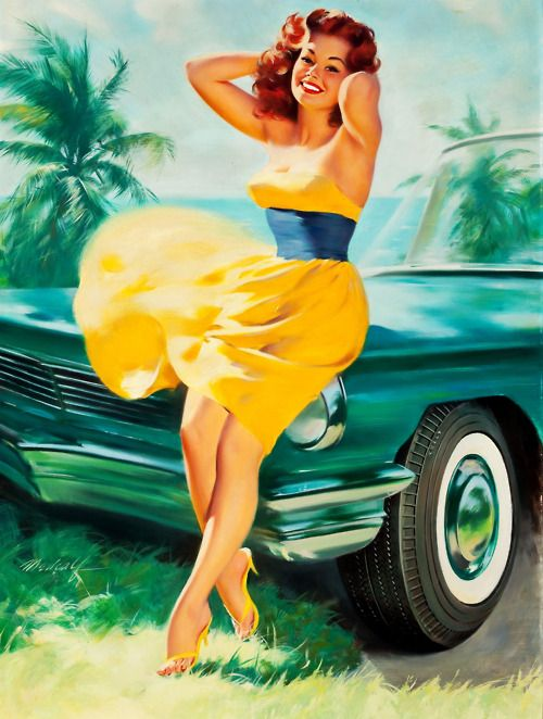I really do love the vintage pin-ups :) They're always so fun, and even the ones in bathing suits have a classy-ness to them!