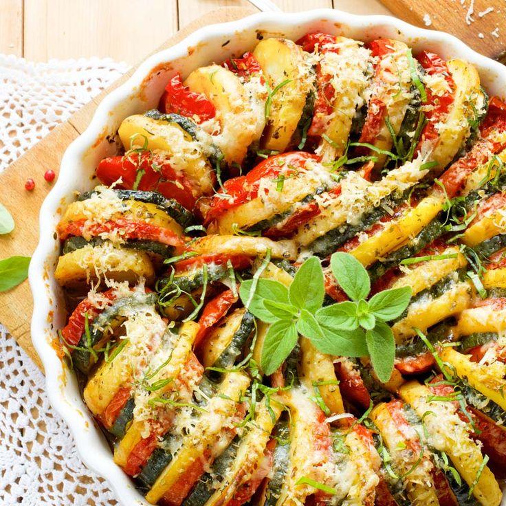 Kartoffel Zucchini Tomaten Gratin