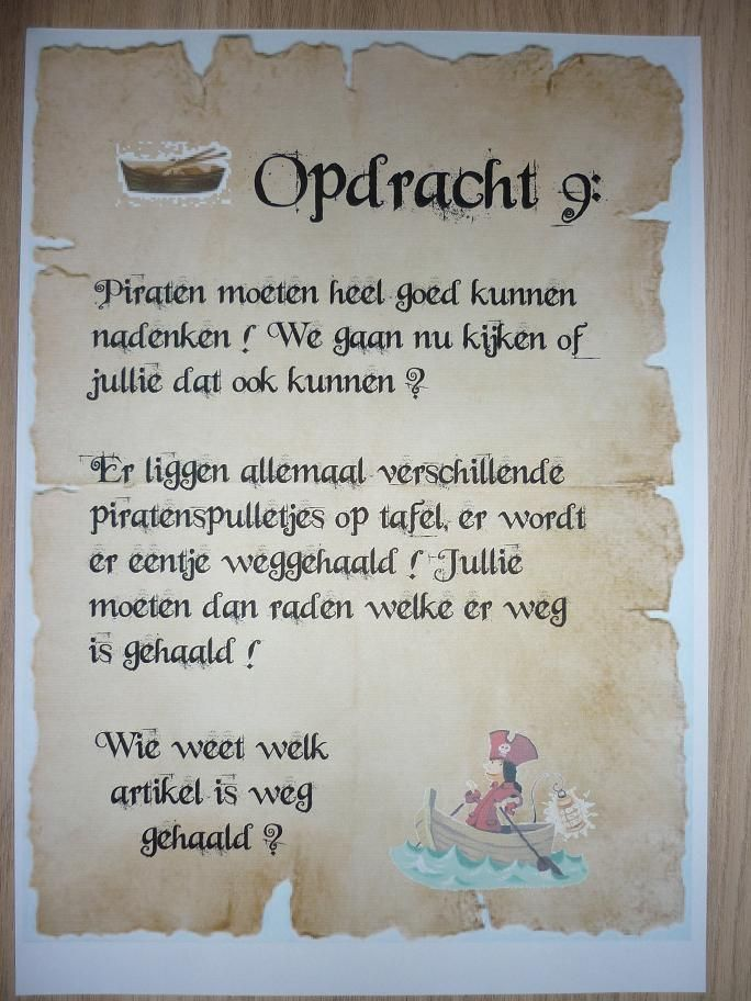 Piratentocht, Opdracht 9. -CE-