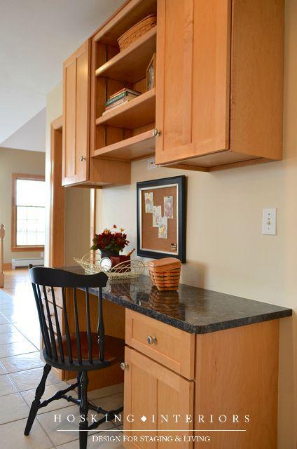 28 best kitchen desks images on pinterest kitchen desks for Built in desk in kitchen ideas