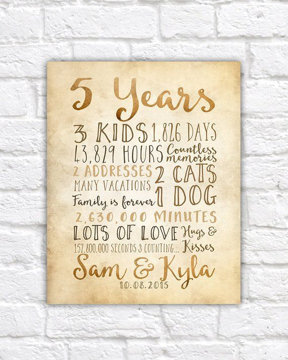 5 Year Anniversary Gift 5th Year Of Marriage Or Dating Etsy 5 Year Anniversary Gift Year Anniversary Gifts Birthday Gifts For Sister