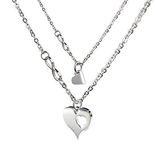 O.RIYA Mother's Day Gifts From Daughter Necklaces  Heart Design (White)