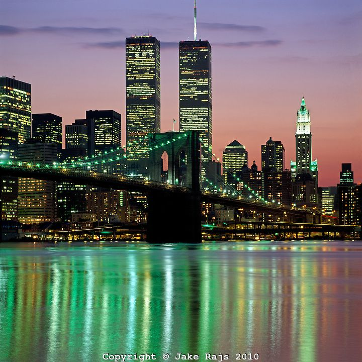 Brooklyn Bridge, Twin Towers,  and Lower Manhattan Skyline, designed by John Augustus Roebling,Twin Towers of the World Trade Center, design...