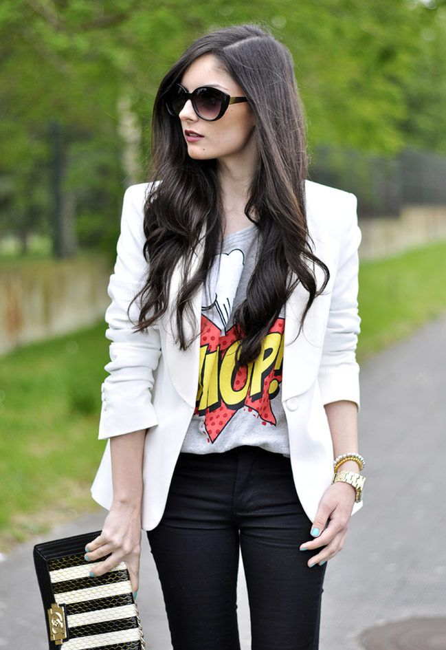 Love the comic print t-shirt with the structured blazer!!!...black & White... ( Sunglasses & Blazers )